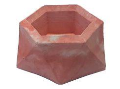 Кашпо Tormund concrete двенадцатигранное, красно-белое (БК0016)