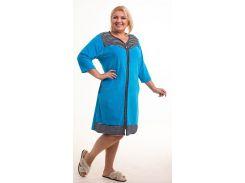 Халат женский Bonita, велюровый, голубой с черно-белым (48)