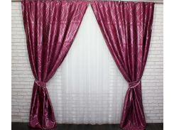 Шторы блэкаут Лиана 459ш VR-Textil 2 шт. 1,5 × 2,7 м, малиновые (2143)