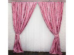 Шторы блэкаут Лилия 453ш VR-Textil 2 шт. 1,5 × 2,75 м, розовые (2145)