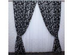 Шторы блэкаут Листочки 450ш VR-Textil 2 шт. 1,5 × 2,7 м, черные (2141)