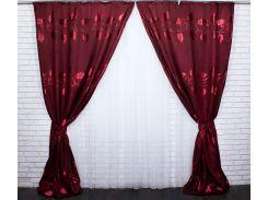 Шторы Корона из ткани лен 458ш VR-Textil 2 шт. 1,5 × 2,75 м, бордовые (2147)