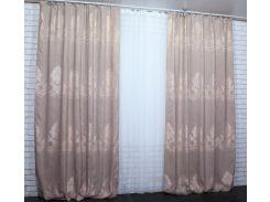 Шторы Корона Минотти из ткани лен 474ш VR-Textil 2 шт. 1,5 × 2,8 м, пудровые (2154)