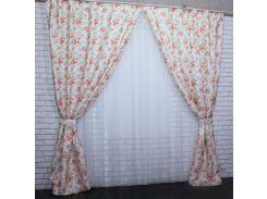 Шторы Прованс из ткани жаккард 445ш VR-Textil 2 шт. 1,5 × 2,7 м, бежевые с цветами (2158)