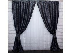 Шторы блэкаут Корона Версаль 471ш VR-Textil 2 шт. 1,5 × 2,7 м, темно-серые (2164)