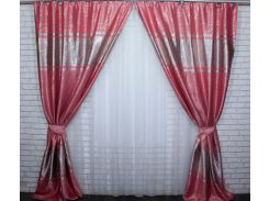 Шторы блэкаут Лиана 461ш VR-Textil 2 шт. 1,5 × 2,7 м, розовые (2140)