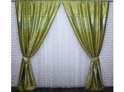 Шторы блэкаут Лиана 462ш VR-Textil 2 шт. 1,5 × 2,7 м, салатовые (2139)