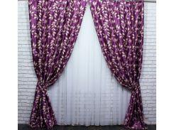 Шторы блэкаут Листочки 446ш VR-Textil 2 шт. 1,5 × 2,7 м, фиолетовые (2144)