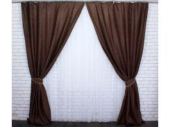 Шторы блэкаут Сакура 466ш VR-Textil 2 шт. 1,5 × 2,7 м, коричневые (2151)
