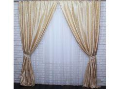 Шторы из ткани жаккард 439ш VR-Textil 2 шт. 1,5 × 2,7 м, золотистые (2157)