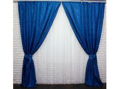 Шторы из ткани жаккард 442ш VR-Textil 2 шт. 1,5 × 2,7 м, темно-синие (2156)