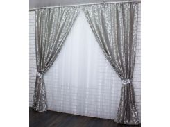 Шторы из ткани жаккард Вензель 293ш VR-Textil 2 шт. 1,5 × 2,75 м, серые (2175)