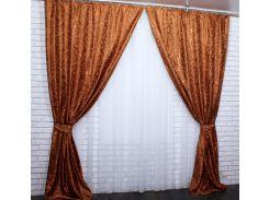 Шторы из ткани жаккард Вензель 457ш VR-Textil 2 шт. 1,5 × 2,7 м, терракотовые (2173)