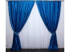 Шторы из ткани жаккард Вензель 475ш VR-Textil 2 шт. 1,5 × 2,8 м, синие (2176)