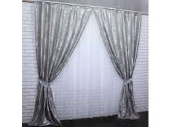 Шторы из ткани жаккард Лилия 430ш VR-Textil 2 шт. 1,5 × 2,75 м, серые (2174)