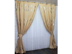 Шторы из ткани лен с узором листья 426ш VR-Textil 2 шт. 1,5 × 2,75 м, бежевые с золотом (2166)