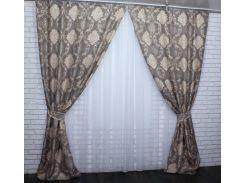 Шторы Корона из ткани лен 455ш VR-Textil 2 шт. 1,5 × 2,8 м, светло-коричневые (2148)