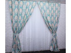 Шторы Корона из ткани лен 456ш VR-Textil 2 шт. 1,5 × 2,8 м, бирюзовые с бежевым (2163)