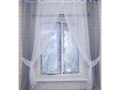 Кухонные шторки с подвязками (1,7 м), серый с белым, VR-Textil