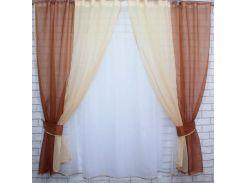 Тюль и шторки шифон VR-Textil №38 1 шт. 170 см коричневый с бежевым (2183)