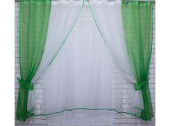 Тюль и шторки шифон №38 (1 шт. 170 см), зелёный с белым, VR-Textil