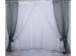 Тюль и шторки шифон №38 (1 шт. 170 см), серый с белым, VR-Textil