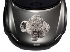 3д наклейка на капот Леопард черно белый (640 × 710 × 0.15 мм), Grandmaster3d