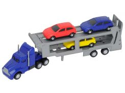Автотранспортер (синий) и 3 машинки, Dickie Toys