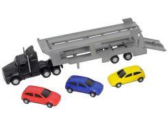 Автотранспортер (черный) и 3 машинки, Dickie Toys