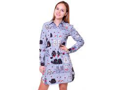 Байкова домашняя рубашка, Лаванда, серая с котами (М)