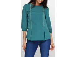 Блузка темно-бирюзовая с заклепками, размер 38, Ageless