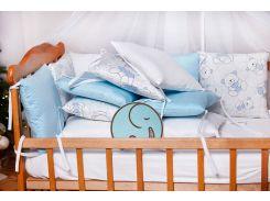 Бортики-защита в кроватку Добрый Сон от комплекта Верона из сатина 12 шт Мишка голубые (3-08-1/2)