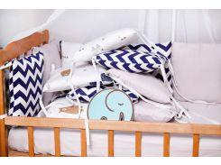 Бортики-защита в кроватку Добрый Сон от комплекта Верона из сатина 12 шт Серый Мишка (3-08-1/6)