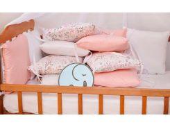 Бортики-защита в кроватку Добрый Сон от комплекта Верона из сатина 12 шт Фламинго (3-08-1/7)