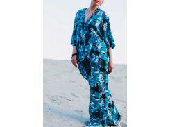 Брючный костюм Летний вечер (летний, натуральный, бирюзовый), размер M, Garna