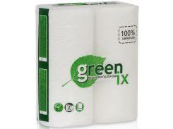 Бумажное полотенце, 11 метров в рулоне, 2 рулона в упаковке, белое, целлюлоза, Greenix