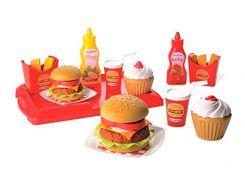 Гамбургер с посудой, набор продуктов, 25 аксессуаров, Ecoiffier