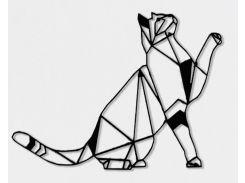 Геометрический настенный декор Кот, дерево, SO Green