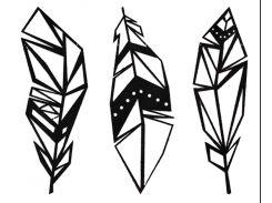 Геометрический настенный декор Перья, дерево, SO Green