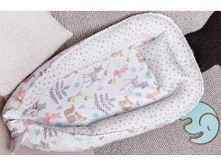 Гнездо для новорожденных Добрый Сон Зверята сатин 52 × 85 см белый (5-04/4)