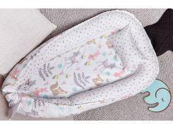 Гнездо для новорожденных Добрый Сон Зверята сатин до 12 мес 72 × 105 см белый (5-05/4)