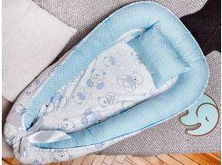 Гнездо для новорожденных Добрый Сон Мишка сатин до 12 мес 72 × 105 см бело-голубой (5-05/2)