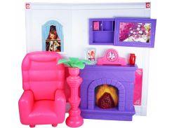 Гостиная кукольная со световыми и звуковыми эффектами , розовая, QunFengToys