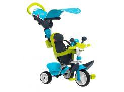 Детский велосипед Baby Driver comfort, с козырьком и багажником (зелено-голубой), Smoby