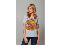 Женская футболка с золотой рыбкой Коралия, Диво, серая, S