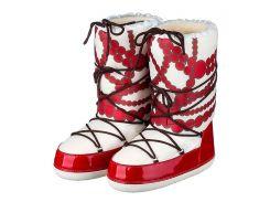 Женские зимние луноходы Диво-буты, Красные бусинки, Диво, бело-красные (41-43)