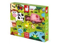 Животные на ферме, пазл текстурный, 20 элементов, Janod