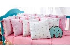 Защита в кроватку Добрый Сон от комплекта Облачко 12 шт бело-розовая звезды (3-05-1/10)