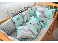 Защита в кроватку Добрый Сон от комплекта Облачко 12 шт мятная панда полоска (3-05-1/3)