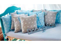 Защита в кроватку Добрый Сон от комплекта Облачко 12 шт серо-голубой звезды (3-05-1/13)